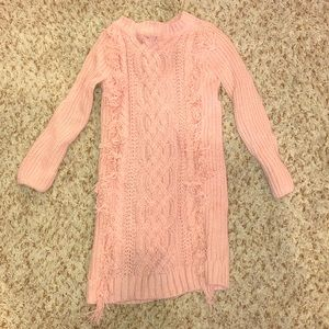 Pink GAP sweater dress with front fringe -size 4/5